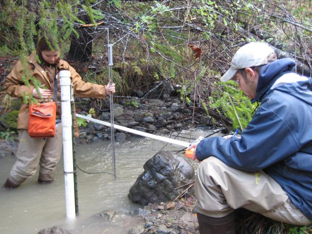 Taking flow measurements for turbidity monitoring at Cook Gulch